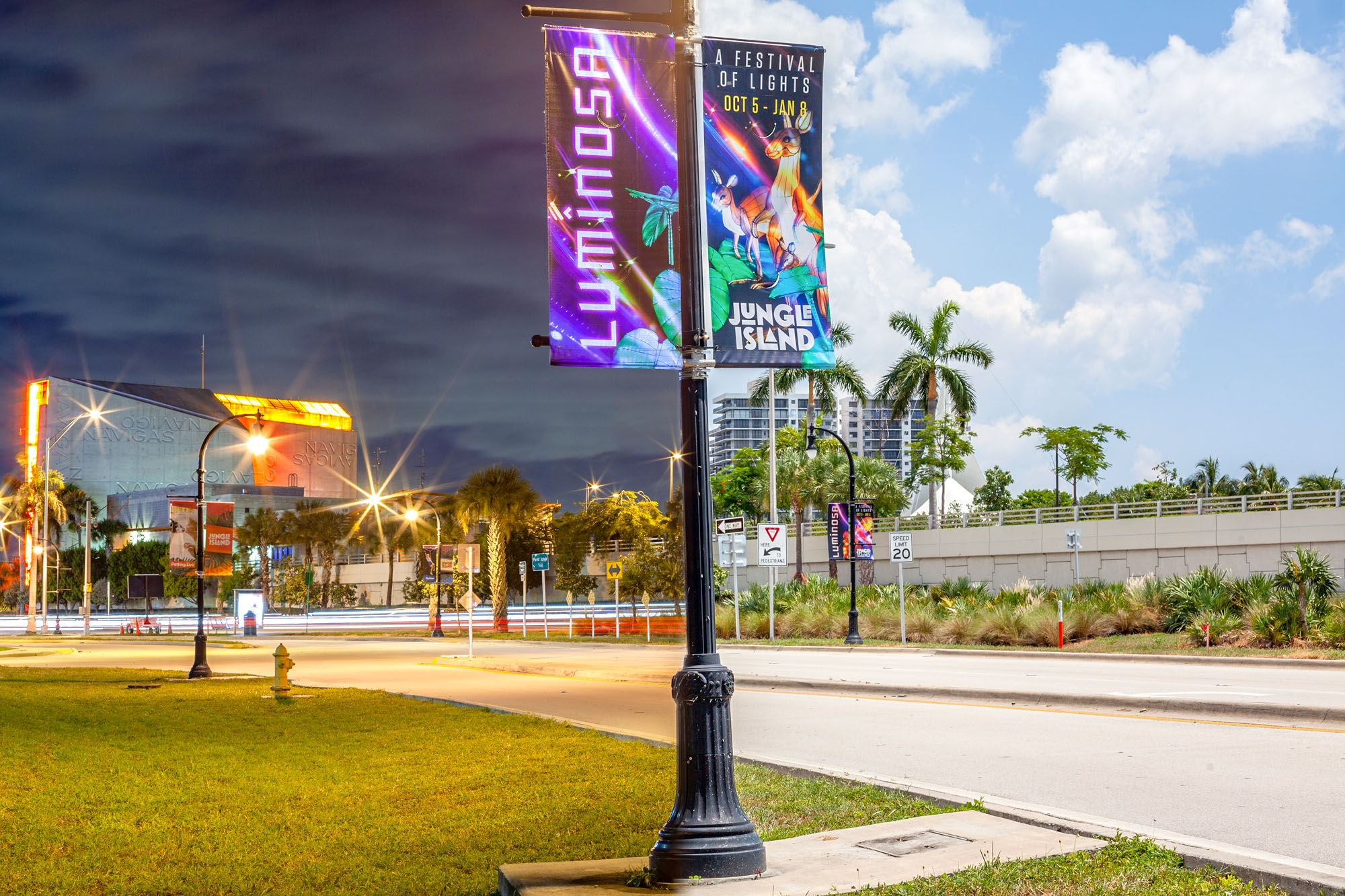 Jungle Island | Reflective Pole Banners Showcase Image